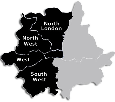 Map of North London, North West London, West London, South West London - Areas covered by SD Electrical